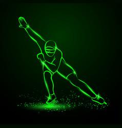 Speed skating neon winter sport vector