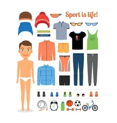 Sport boy Clothing and sports equipment for vector