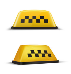 taxi checker yellow sign realistic set taxicab vector image