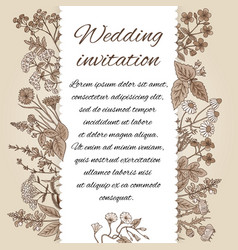 Template of wedding invitation in vintage style vector