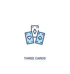 three cards concept 2 colored icon simple line vector image