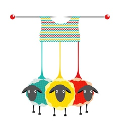 Three Knitting Yarn Sheep vector image