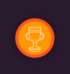 Trophy cup winner goblet reward linear icon vector