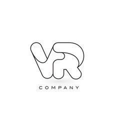 vr monogram letter logo with thin black monogram vector image