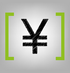 yen sign black scribble icon in citron vector image