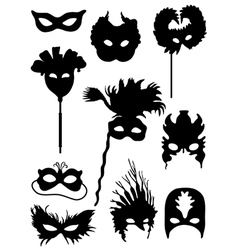 Collection of silhouettes of carnival masks vector image vector image