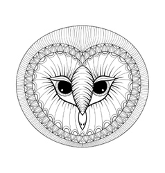 Coloring page with Owl head zentangle stylized vector image