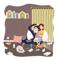 couple at home room hugging and love male female vector image vector image