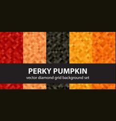 Diamond pattern set perky pumpkin seamless vector