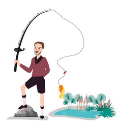 flat fisherman with fish holding fishing rod vector image vector image