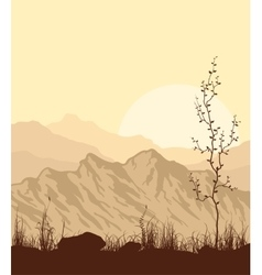 Landscape with mountains grass and tree vector image vector image