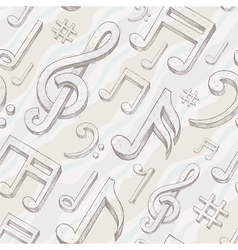 Seamless background with hand drawn treble clef vector image vector image