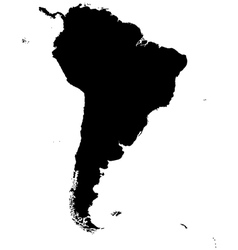 Silhouette map of South America vector image