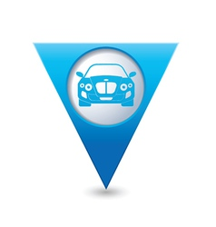 CAR BLUE triangular map pointer vector image vector image