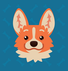 corgi dog emotional head of vector image vector image