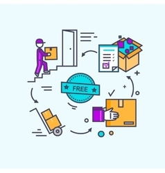 Free Shipping Concept Icon Flat Design vector image vector image