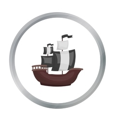 Pirate ship icon in cartoon style isolated on vector image