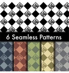 Set of 6 rhombus seamless patterns vector image vector image