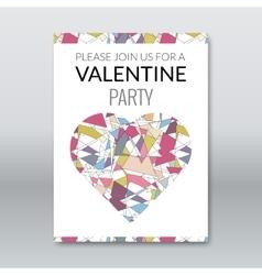 valentine card invitation polygonal style vector image