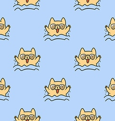Cute doodle cats seamless pattern vector image vector image