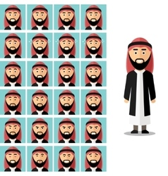 Face emotions of arab man set in flat vector image vector image