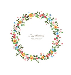 invitation card with floral wreath for your design vector image