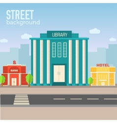 Library building in city space with road on flat vector