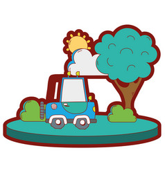 line color agrimotor car in the city with tree and vector image