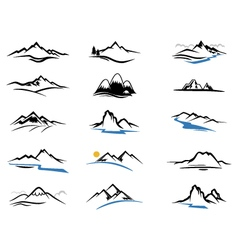 Mountains Icons cartoon for you design vector image