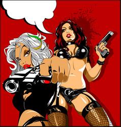three pistols vector image vector image