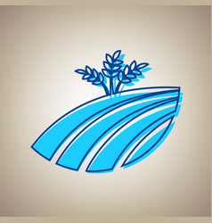 wheat field sign sky blue icon with vector image