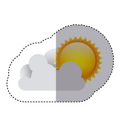 color sticker of cloud with sun vector image