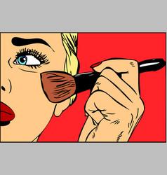 make-up brush in hand pop art retro vector image