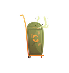 portable trash bin on wheels waste processing and vector image