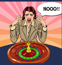 screaming woman behind roulette table vector image