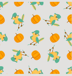 seamless pattern with cute birds and pumpkins vector image vector image