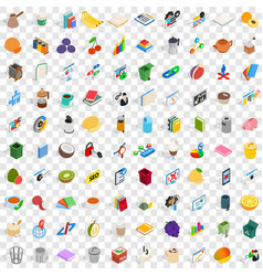 100 office supplies icons set isometric 3d style vector image