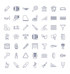 49 instrument icons vector image