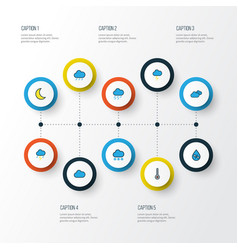 Air colorful outline icons set collection of hazy vector