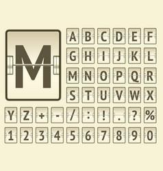 Airport flip scoreboard alphabet font with vector