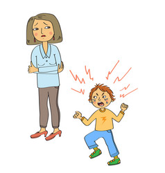 angry kid vector image