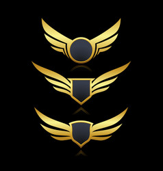 Badge shield wings set vector