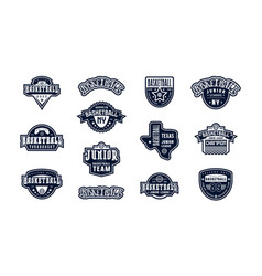 Badges set basketball tournament vector