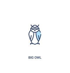 Big owl concept 2 colored icon simple line vector
