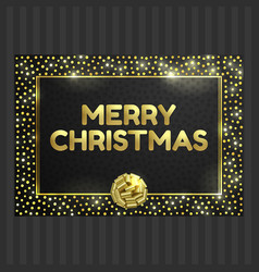 Black and gold card with gold circle frame ribbon vector