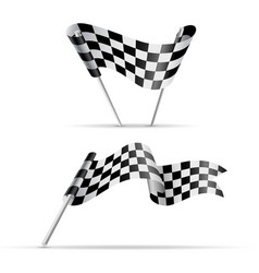 black and white checkered flags vector image