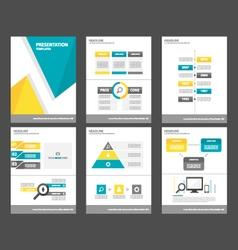 Blue yellow presentation template infographics set vector