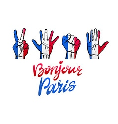 Bonjour paris card hello paris phrase in french vector