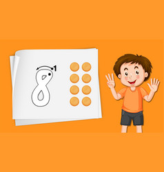 Boy with number eight tracing worksheets vector