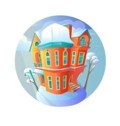Bright house in the winter-time evening vector image
